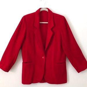 Vintage Red Wool Blazer
